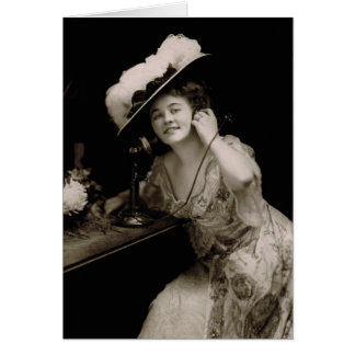 Antique Beauty on Telephone Greeting Card