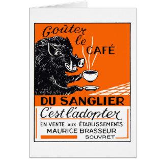 Antique Belgian Coffee Boar Advertising Card