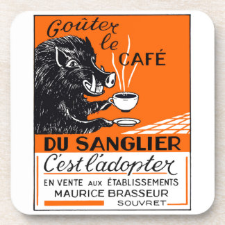 Antique Belgian Coffee Boar Advertising Drink Coasters
