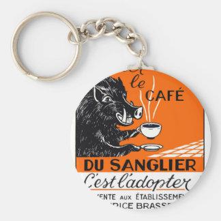 Antique Belgian Coffee Boar Advertising Key Ring