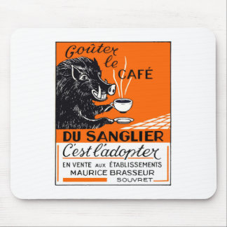 Antique Belgian Coffee Boar Advertising Mouse Pad