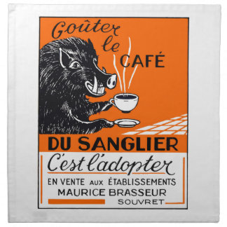 Antique Belgian Coffee Boar Advertising Napkin