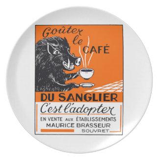 Antique Belgian Coffee Boar Advertising Plate