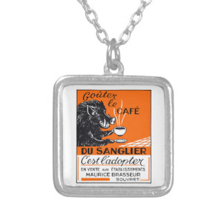 Antique Belgian Coffee Boar Advertising Silver Plated Necklace