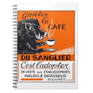 Antique Belgian Coffee Boar Advertising Spiral Notebook