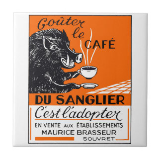 Antique Belgian Coffee Boar Advertising Tile