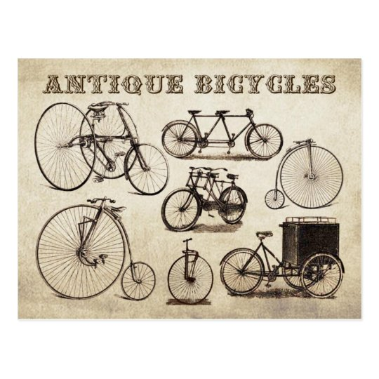 Antique Bicycles (Velocipedes) Postcard