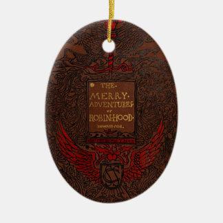 Antique Binding Robin Hood Book Cover Christmas Ornaments