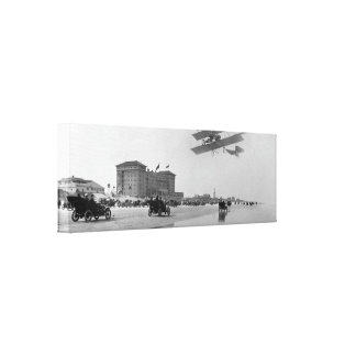 Antique Biplane over Daytona Beach, Florida, 1911 Canvas Print
