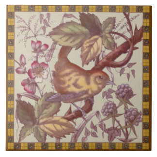 Antique Bird & Berries Transferware Tile Repro #2