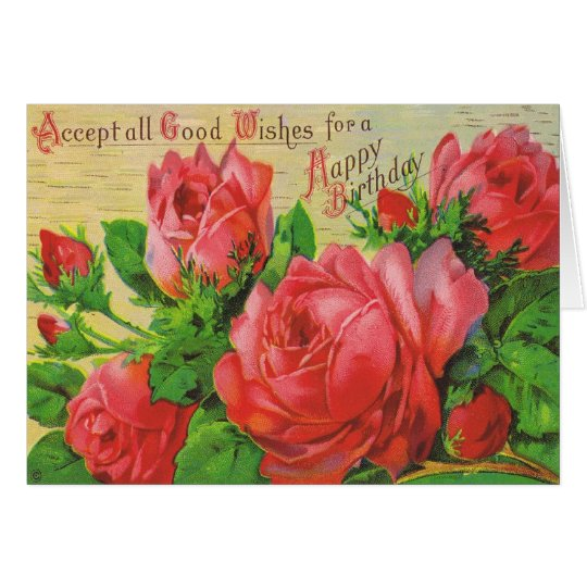 Antique Birthday Card with Red Roses