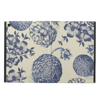 Antique Blue Flower Print Art Botanical