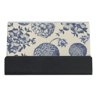 Antique Blue Flower Print Art Botanical Desk Business Card Holder