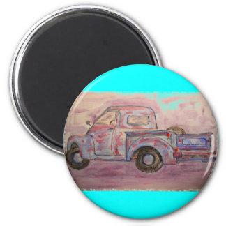 antique blue patina truck 6 cm round magnet