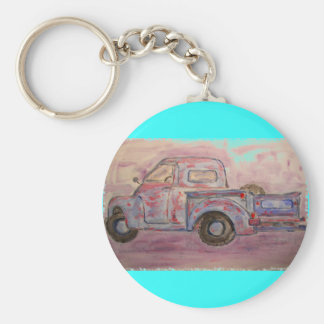 antique blue patina truck basic round button key ring