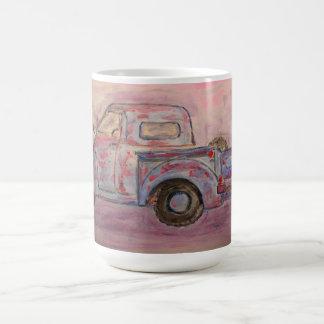 antique blue patina truck basic white mug