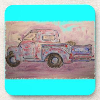 antique blue patina truck beverage coasters