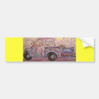 antique blue patina truck bumper sticker