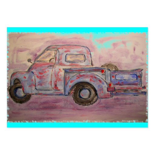 antique blue patina truck business card templates