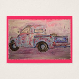 antique blue patina truck business card