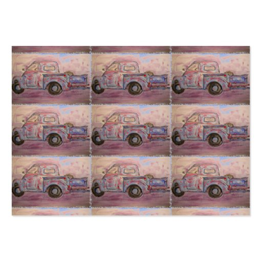 antique blue patina truck business card template