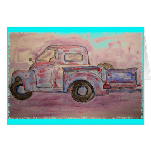 antique blue patina truck greeting cards