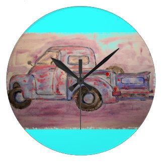 antique blue patina truck wall clocks
