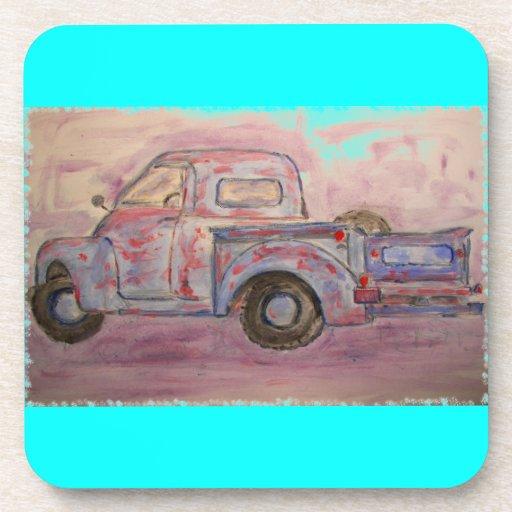 antique blue patina truck drink coaster