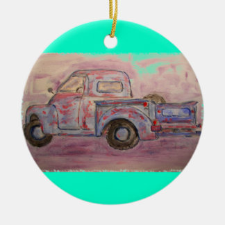 antique blue patina truck christmas ornament