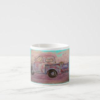 antique blue patina truck espresso mug
