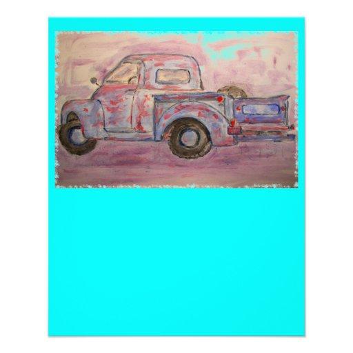 antique blue patina truck flyer design