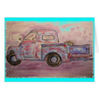 antique blue patina truck greeting card