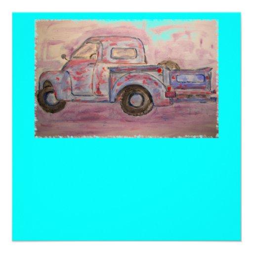antique blue patina truck custom invites