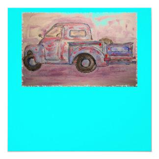 "antique blue patina truck 5.25"" square invitation card"