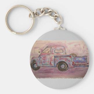 antique blue patina truck keychains