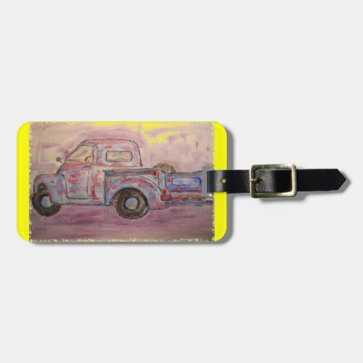 antique blue patina truck tag for luggage