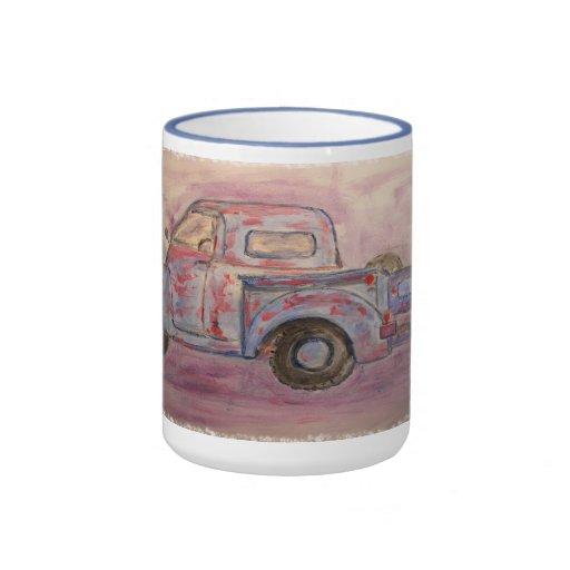antique blue patina truck mugs