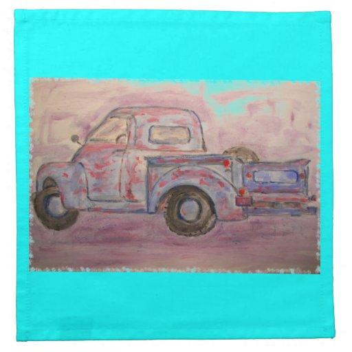 antique blue patina truck napkin