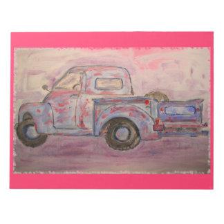 antique blue patina truck notepad