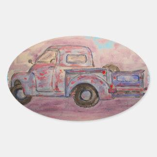 antique blue patina truck oval sticker