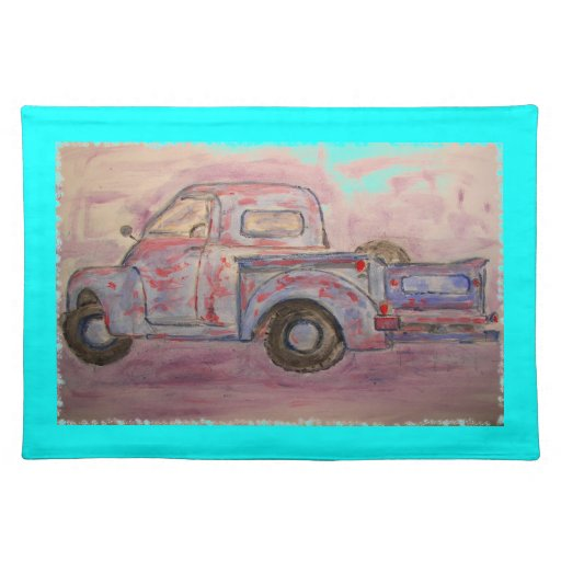 antique blue patina truck placemats