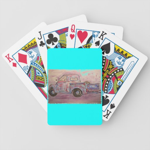 antique blue patina truck playing cards