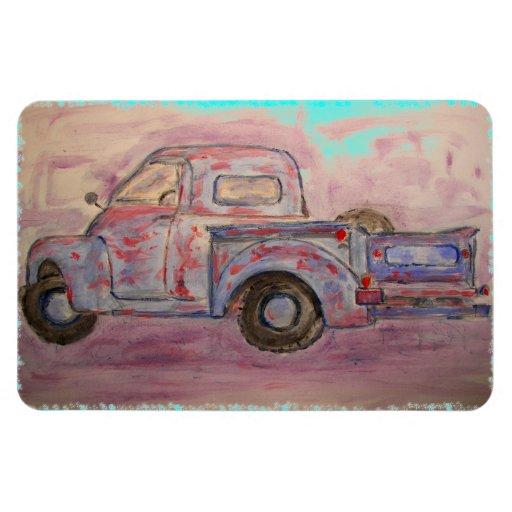antique blue patina truck rectangular magnets