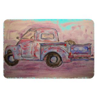 antique blue patina truck rectangular photo magnet
