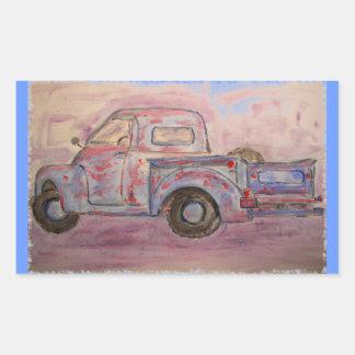 antique blue patina truck rectangular sticker