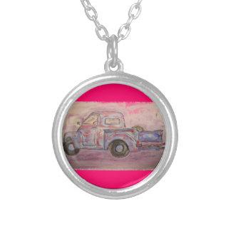 antique blue patina truck round pendant necklace