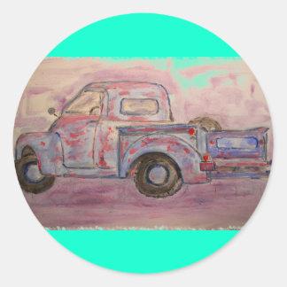 antique blue patina truck round sticker