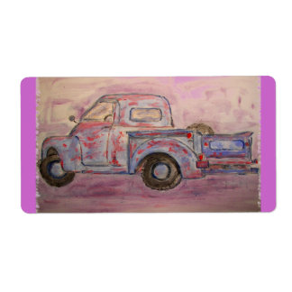 antique blue patina truck shipping label