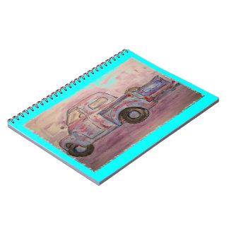 antique blue patina truck spiral note book