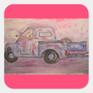 antique blue patina truck square sticker